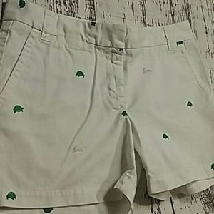 J crew Chino shorts tortoise and Hare embroidery